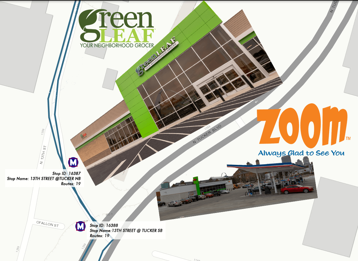 St Louis Metro bus stops at GreenLeaf Market and ZOOM Gas Station