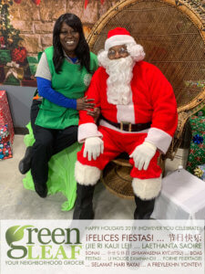 GreenLeaf Market staff with Santa