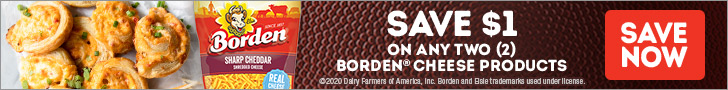 Borden Cheese - Save $1 on any two Borden® Cheese Products. Save Now >