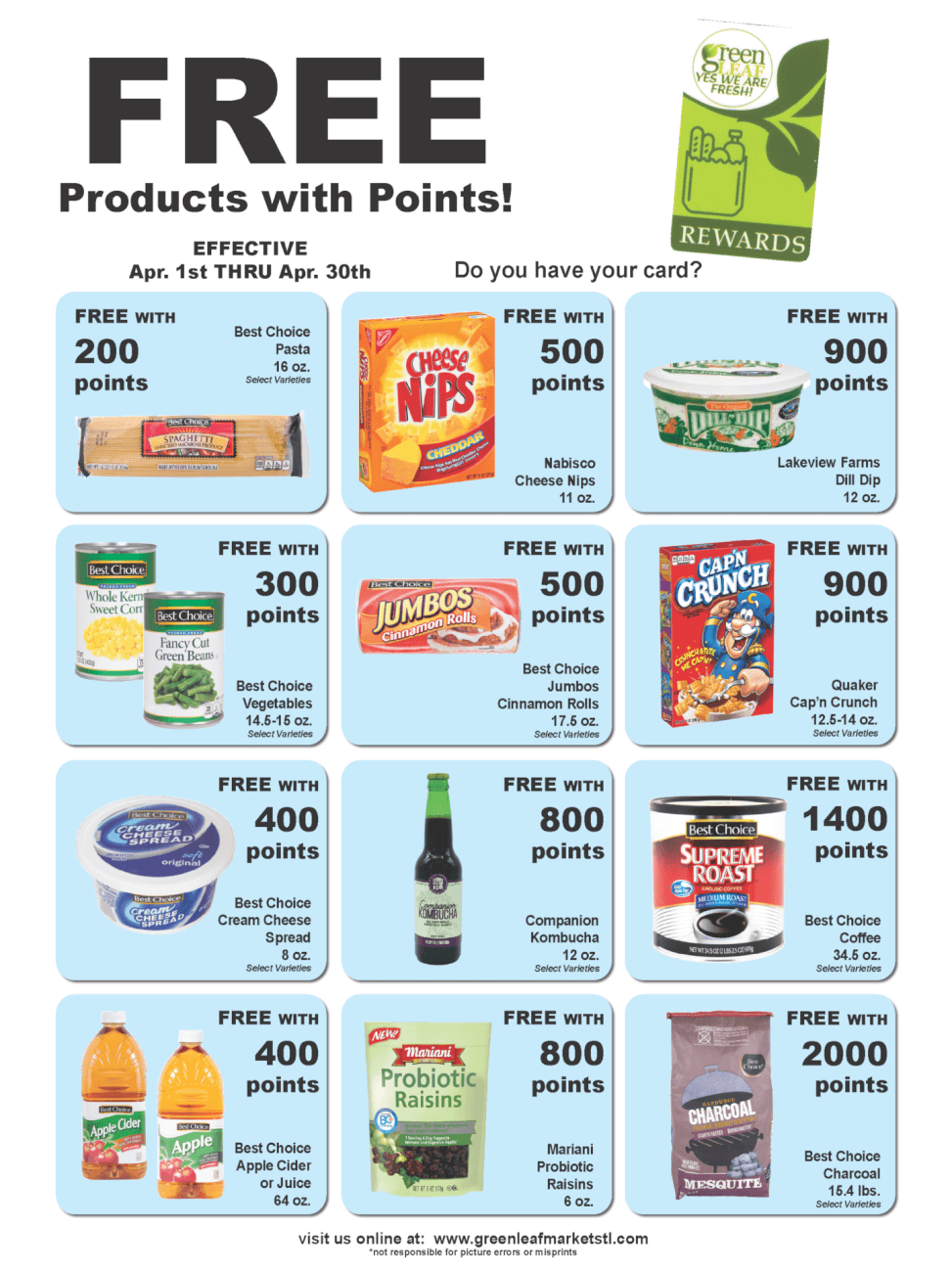 Free groceries with points in April at GreenLeaf Market St. Louis